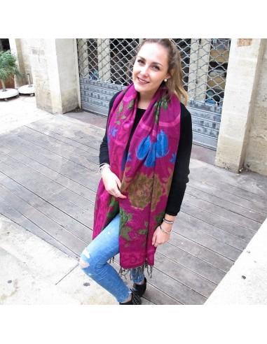 Grande écharpe à fleurs violette - Mosaik bijoux indiens