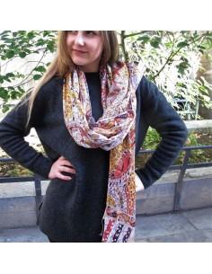 Grand foulard en soie mélangée