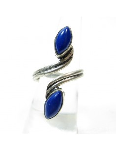 Bague fantaisie et pierre bleu
