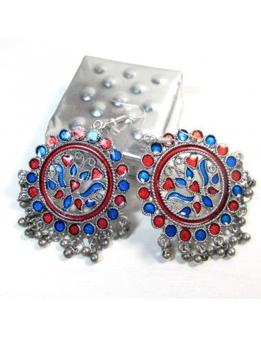 Boucles d'oreilles indiennes colorées - Mosaik bijoux indiens
