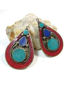 Boucles d'oreilles pendantes tibétaines