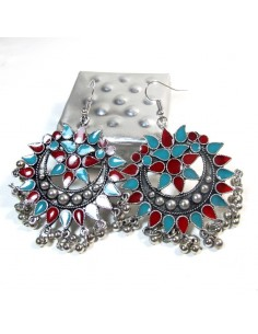 Boucles d'oreilles rouges et turquoises