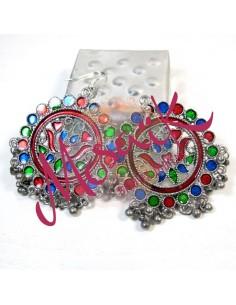 Boucles d'oreilles indiennes colorées à pampilles - Mosaik bijoux indiens