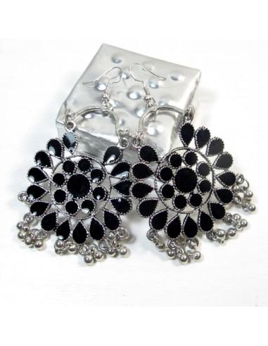 Boucles d'oreilles ethniques à pampilles noires - Mosaik bijoux indiens