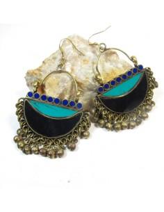 Boucles d'oreilles ethniques noires et vertes