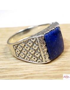 Chevalière homme argent et pierre bleue  - Mosaik bijoux indiens
