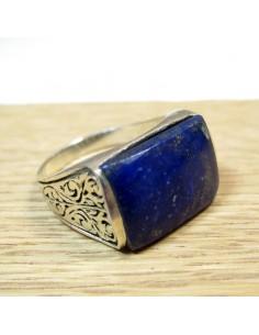 Chevalière rectangulaire argent et lapis lazuli