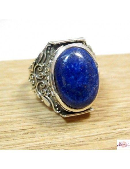 Grosse chevalière argent et lapis lazuli