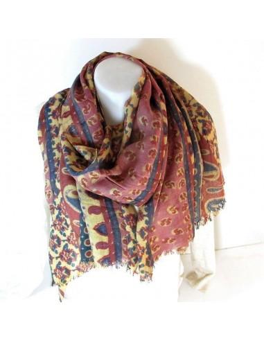 Achat foulard d Inde en laine colorée - boutique Mosaik f578bfde2ca