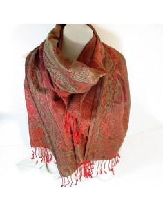 Foulard soie et viscose rouge à motifs