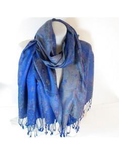 Echarpe bleue à motifs en soie et viscose