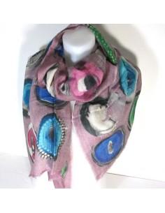 Echarpe violette en laine à motifs