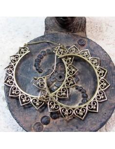 Créoles dorées ethniques en laiton - Mosaik bijoux indiens
