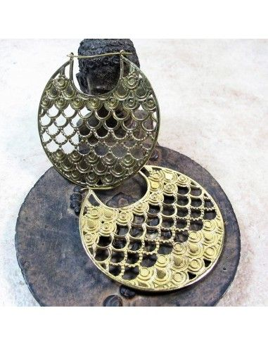 Créoles dorées en laiton ethniques - Mosaik bijoux indiens