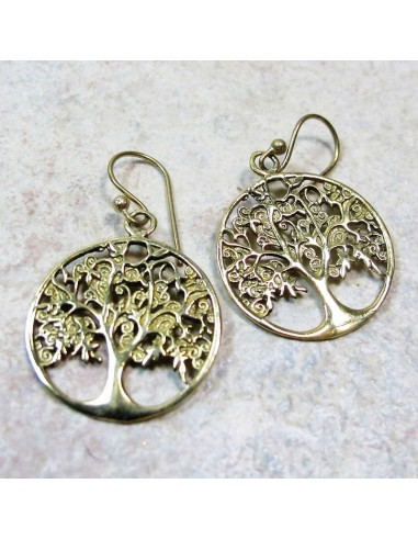 Boucles d'oreilles arbre de vie en laiton