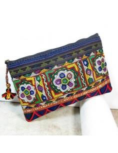 Pochette Gujarat bohème chic brodée -  Mosaik bijoux indiens