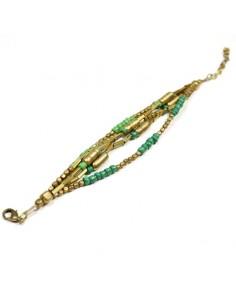 Bracelet perles dorées et vertes 2