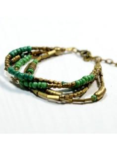 Bracelet perles dorées et vertes