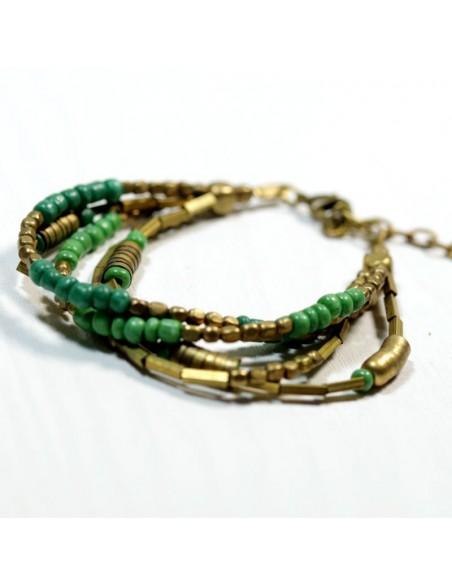 Bracelet Perles Dorees Et Vertes Boutique Mosaik Bracelets Ethniques