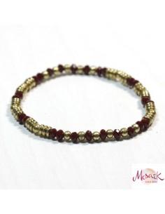 Bracelet élastique doré et rouge