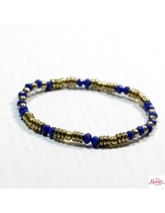 Bracelet fin doré et bleu