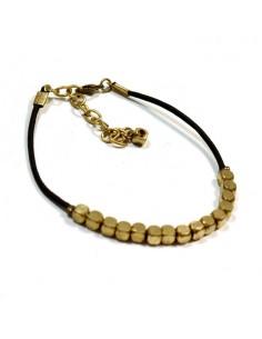 Bracelet fin petites perles dorées
