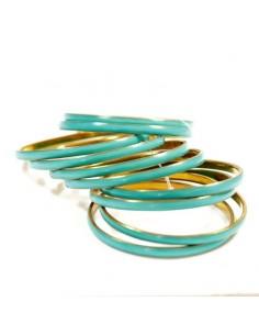 Lots de 10 bracelets en métal doré et turquoise