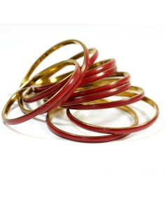 Lots de 10 bracelets doré et rouge