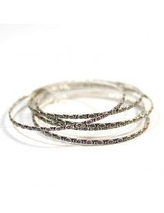 Lot de 5 bracelets fantaisie en métal argenté
