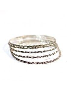 Lot de 5 bracelets fantaisie en métal argenté 2