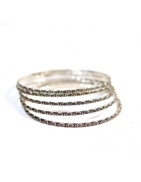 Lot de 5 bracelets fantaisie en métal argenté -  Mosaik bijoux indiens