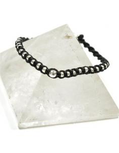 Bracelet fil de coton noir