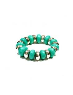 Gros bracelet à perles turquoises et argentées