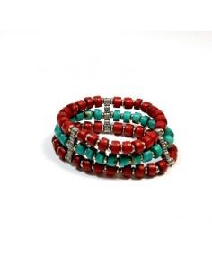 Bracelet rouge et turquoise