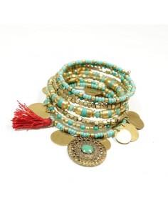 Bracelet spirale perles et pièces