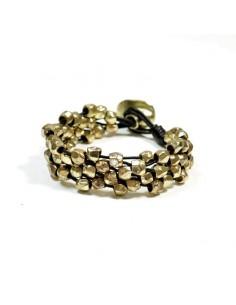 Bracelet cuir et perles dorées