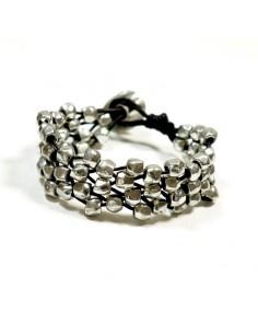 Bracelet métal argenté et cuir
