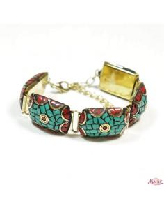 Bracelet à plaques rouges et turquoises