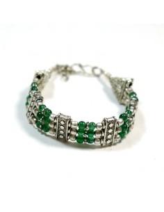 Bracelet métal argenté et aventurine