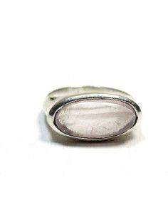 Bague argent et quartz rose T51 2