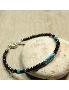 Bracelet en pierres onyx er perles argent