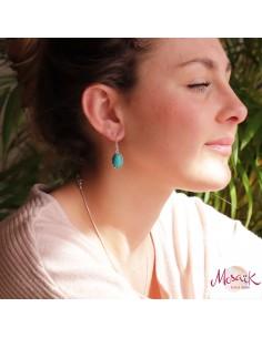 Boucles d'oreilles argent et turquoise 2