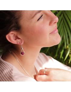 Boucles d'oreilles argent et rubis indien 2