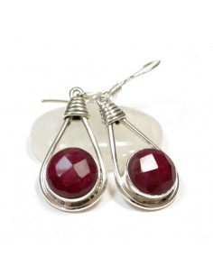 Boucles d'oreilles argent et rubis indien
