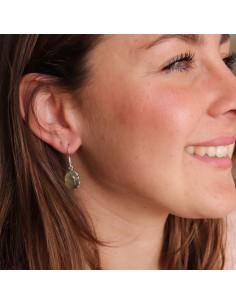 Boucles d'oreilles argent ovales et préhnite - Mosaik bijoux indiens 2