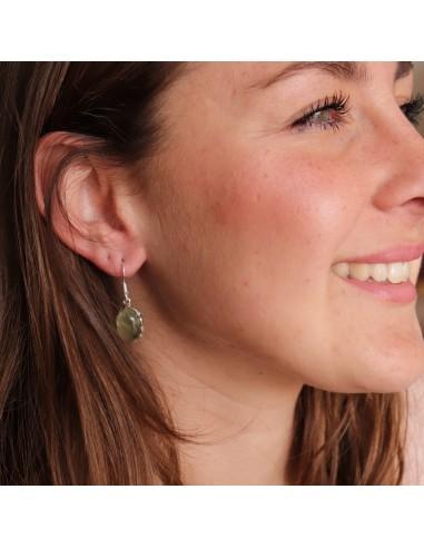 Boucles d'oreilles argent et préhnite - Mosaik bijoux indiens