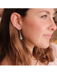 Boucles d'oreilles argent et topaze bleue 2
