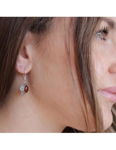 Boucles d'oreilles argent et cornaline