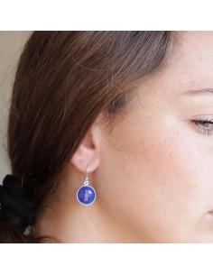Boucles d'oreilles argent et lapis lazuli 2
