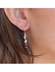Boucles d'oreilles argent et grenat facetté - Mosaik bijoux indiens 2